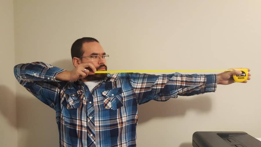 Draw length with a measuring tape.